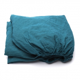 Marine Blue Drap Housse en Lin Stone Washed