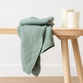 Lot de 2 Serviette de Toilette Spa Green Lin Washed Waffle