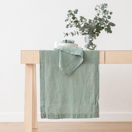 Chemin de Table en Lin Stone Washed Spa Vert