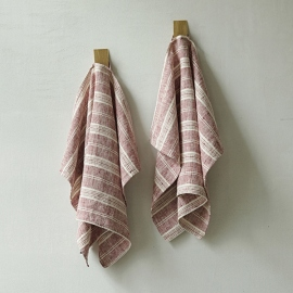 Lot de 2 Cherry Serviettes de toilette Lin Multistripe