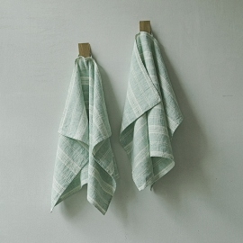 Lot de 2 Mint Serviettes de toilette Lin Multistripe
