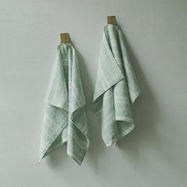 Lot de 2 Mint Serviettes de toilette Lin Multistripe