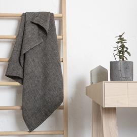 Serviettes de bain en lin, Chevron Black