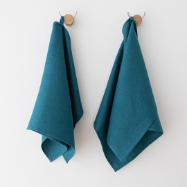 Tissu en lin lavé Bleu Marine Gaufré