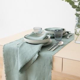 Spa Vert Chemin de table en lin Rustic