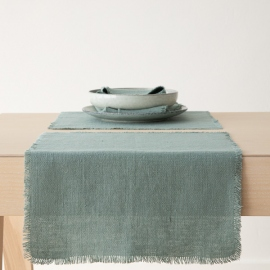 Spa Vert Chemin de Table en Lin Rustic