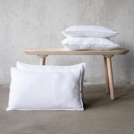 Blanc Optique Rideaux a Liens en Lin Stone Washed
