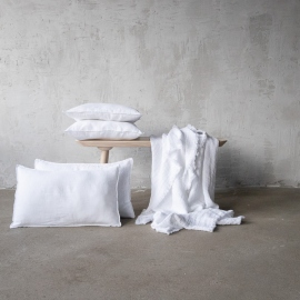 Housse de Coussin Lin Stone Washed White