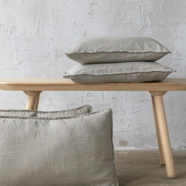 Taupe Housse de Coussin Lin Stone Washed