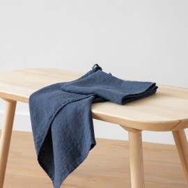 Lot de 2 Serviette de Toilette Indigo Lin Washed Waffle
