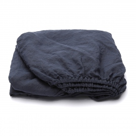 Indigo Drap Housse en Lin Stone Washed