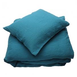Parure de lit en lin lavé Marine Blue