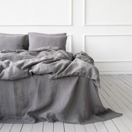Parure de lit en lin lavé Steel Grey