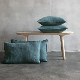 Balsam Vert Housse de Coussin Lin Stone Washed