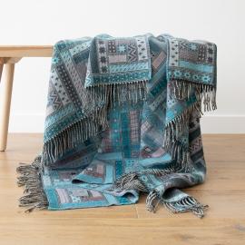Plaid en laine Mérinos Marta Turquoise