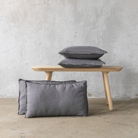 Steel Gris Housse de Coussin Lin Stone Washed