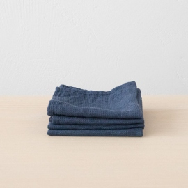 Lot de 4 Serviette de Toilette Indigo Lin Washed Waffle