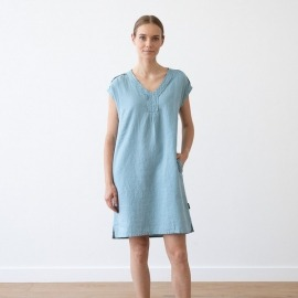 Sea Blue Lin Robe Emily