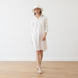 White Lin Robe Chemise Camilla