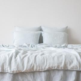 Ice Blue Parure de lit en lin lavé Stone Washed