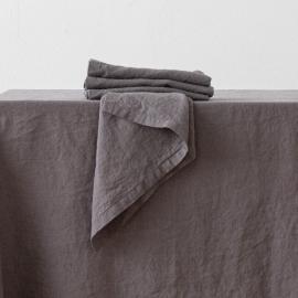 Serviette de table en lin effet délavé Acier Gris