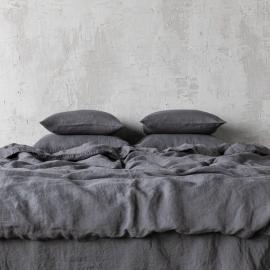 Gris Housse de Couette en Lin Stone Washed