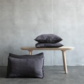 Gris Housse de Coussin Lin Stone Washed