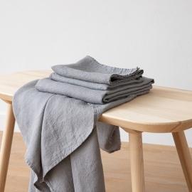 Graphite Serviettes de Bain Texure Gaufrée en Lin et Serviettes Lavé
