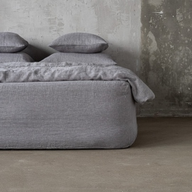 Gris Drap Housse en Lin Stone Washed Herringbone