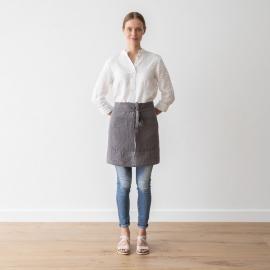 Tablier Garçon de Café en Lin Lavé Steel Grey