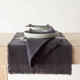 Serviette de Table en Lin Gris Rustique Lavé