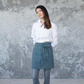 Tablier Garçon de Café en Lin Lavé Balsam Green