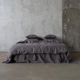 Gris Parure de lit en Lin Stone Washed