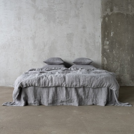 Gris Parure de lit en Lin Stone Washed Herringbone