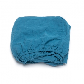 Sea Blue Drap Housse en Lin Stone Washed