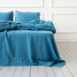 Sea Blue Drap Plat en Lin Stone Washed