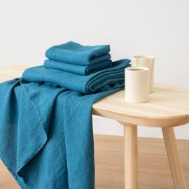 Sea Blue Serviettes de Bain Texure Gaufrée en Lin et Serviettes Lavé