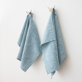 Lot de 2 Marine Blue Serviettes de toilette Lin Francesca
