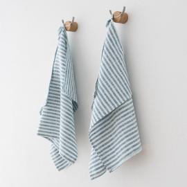 Lot de 2 Marine Blue Serviettes de toilette Lin Brittany