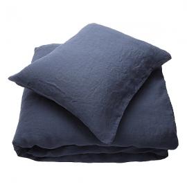 Indigo Parure de lit en lin lavé Stone Washed