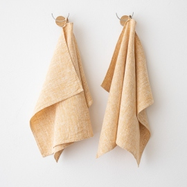Lot de 2 Gold Serviettes de toilette Lin Francesca