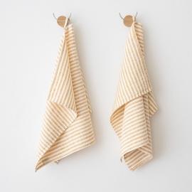 Lot de 2 Gold Serviettes de toilette Lin Brittany