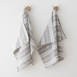 Lot de 2 Graphite Serviettes de toilette Lin Multistripe
