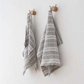 Lot de 2 Graphite Serviettes de toilette Lin Multistripe