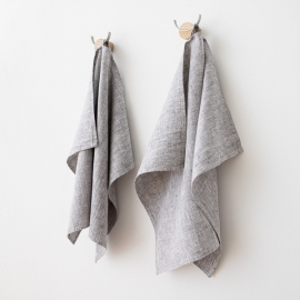 Lot de 2 Graphite Serviettes de toilette Lin Francesca