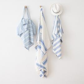 Blanc Bleu Serviettes de Plage en Lin Philippe