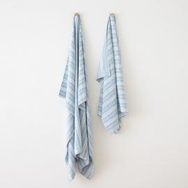 Bleu Blanc Serviettes de Plage en Lin Multistripe