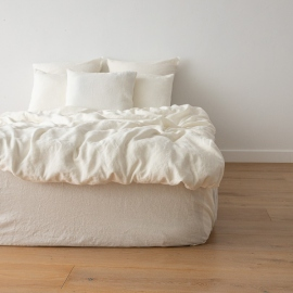 Off White Housse de Couette en Lin Crushed