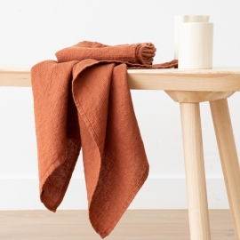 Lot de 2 Serviette de Toilette Rust Lin Washed Waffle