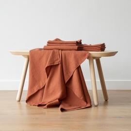 Rust Serviettes de Bain Texure Gaufrée en Lin et Serviettes Lavé
